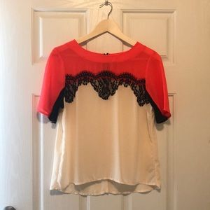 Xhilaration Coral/Black/Ivory Blouse
